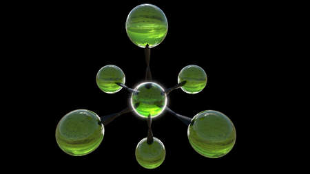 3D rendered green glass molecule on black background photo