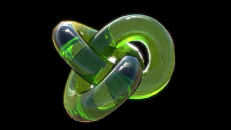 bright green glass torus knot on black background photo