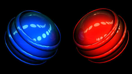 abstract red and blue spheres on black background photo