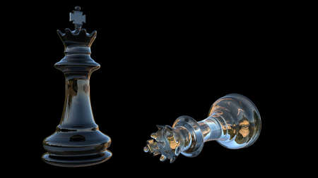 3D black and white glass chess kings on a black background  photo