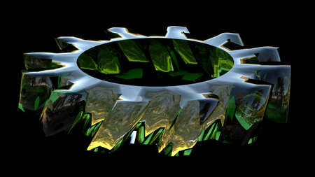 3d render of green glass cog isolated on black photo