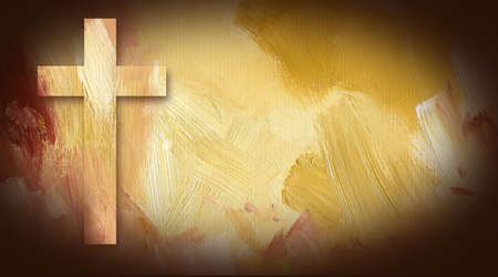 Digital graphic illustration of Cross of Jesus Christ composed of textured oil painted background 스톡 콘텐츠