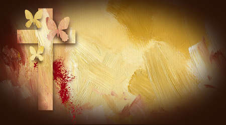 Photo composition graphic of Cross of Jesus with forgiven butterflies on painted oil background with sacrificial blood  photo