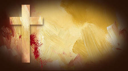 Photo composition graphic of Cross of Jesus on painted oil background with sacrificial blood