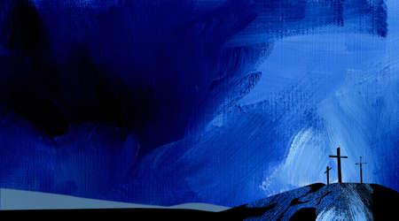 갈보리의 십자가의 그래픽 질감 그림
