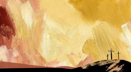 Graficzna ilustracja teksturą krzyży Kalwarii