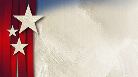Graphic illustration of American flag components on abstract oil paint background