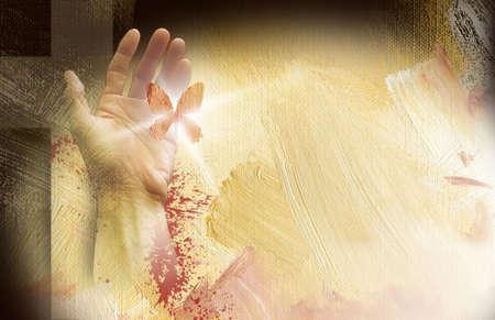 Composición de la foto de la cruz de Jesús y de la mano con la mariposa liberada en el fondo al óleo pintada Foto de archivo - 29687521