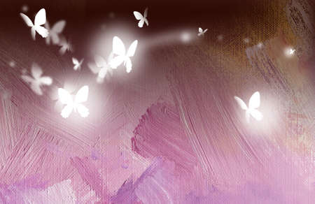 Digital graphic illustration of butterflies in free flight against oil paint textured background