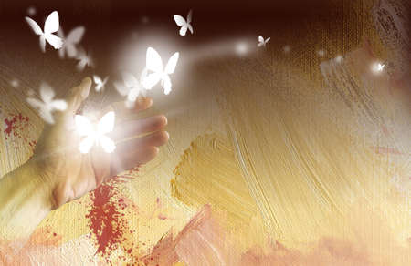 Digital graphic illustration of hand releasing glowing butterflies it freedom and new life