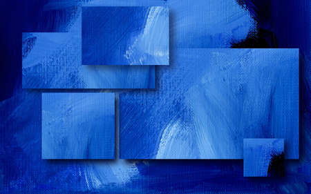 Digital illustration design of geometric rectangles composed of textured oil paint brush strokes