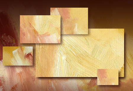 Digital background illustration design of geometric rectangles composed of textured oil paint brush strokes