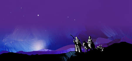 Graphic illustration of dark starry night composed of textured oil paint background with glowing stars and hand drawn silhouette of Mary and Joseph on way to Bethlehem