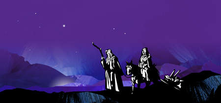Graphic illustration of dark starry Christmas night composed of textured oil paint background with glowing stars and hand drawn silhouette of Mary and Joseph on way to Bethlehem illustration