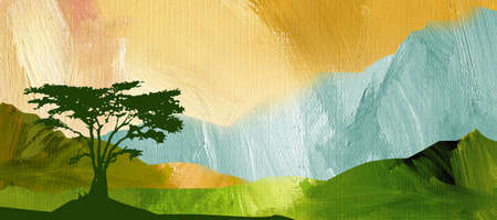 Bright, colorful graphic abstract landscape illustration with mountains and silhouetted tree including textured oil paint brush strokes Stock Photo