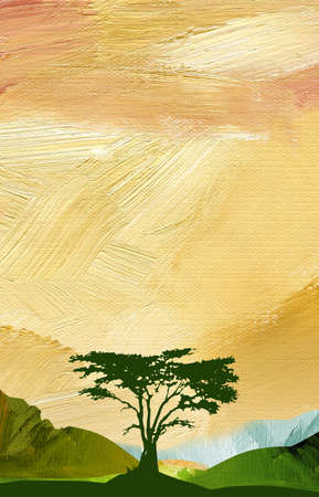 Bright, colorful graphic abstract landscape illustration with mountains and silhouetted tree including textured oil paint brush strokes in vertical format