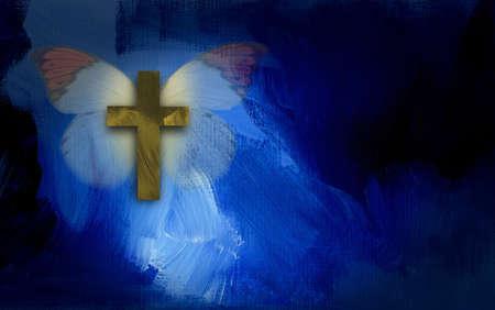 キリスト教の十字架と青の劇的なテクスチャ ブラシ ストロークの背景に蝶で構成される抽象的なグラフィック イラスト