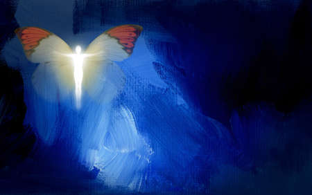 Abstract graphic composed of glowing silhouette of human figure in shape of Christian cross and butterfly on blue dramatic textured brush stroke background