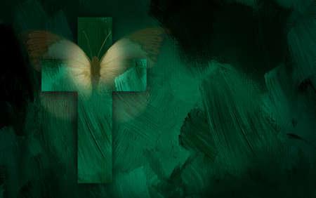 キリスト教の十字、緑の劇的なテクスチャ ブラシ ストロークの背景に象徴的な蝶で構成される抽象的なグラフィック