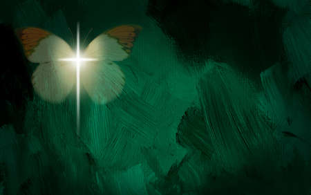 risen: Abstract graphic composed of glowing Christian cross and butterfly on green dramatic textured brush stroke background