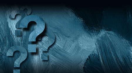 Graphic illustration of multiple question mark symbols on textured brush stroke background