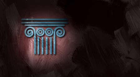 Ilustración gráfica de la columna arquitectónica arriba un símbolo conceptual de las leyes del sistema legal y el gobierno. Foto de archivo - 40016321