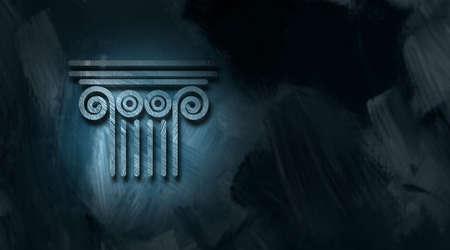 Grafische illustratie van Architectural column boven een conceptuele symbool van het juridische systeem wetten en de overheid.