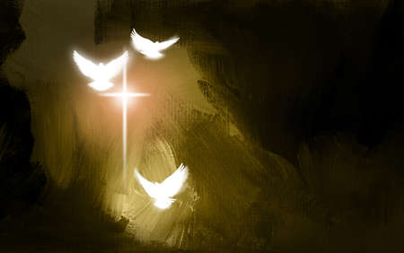 Conceptual graphic illustration of glowing Christian cross with three white doves, symbolizing Jesus Christs sacrificial work of salvation. Digital artwork composed against abstract gold colored oil painted background with texture.