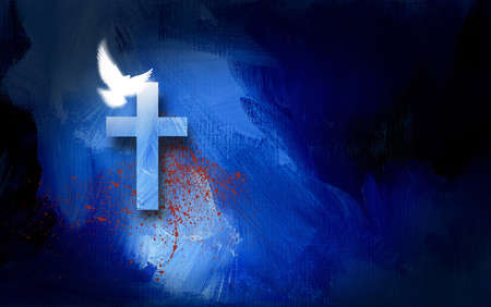 Conceptual graphic illustration of Christian cross with white dove and blood spatter, symbolizing the cost of Jesus Christ's sacrificial work of salvation. Artwork composed against abstract blue oil painted background with texture.