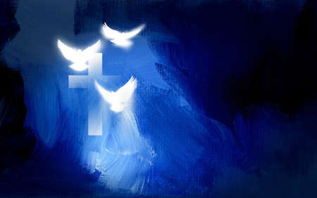 Conceptual graphic illustration of Christian cross and three white doves, symbolizing Jesus Christ's sacrificial work of salvation. Artwork composed against abstract blue, oil painted background with texture. Stockfoto