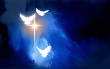 risen: Conceptual graphic illustration of glowing Christian cross with three white doves, symbolizing Jesus Christs sacrificial work of salvation. Artwork composed against abstract blue oil painted background with texture. Stock Photo