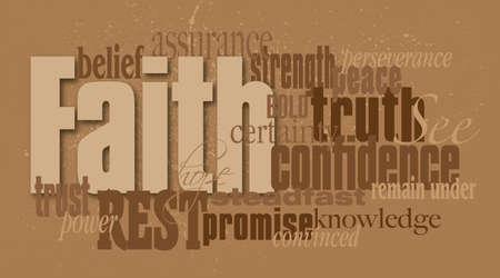 Ilustración gráfica montaje tipográfico de la palabra de la fe cristiana compuesta por palabras y conceptos asociados. Un diseño contemporáneo de inspiración.