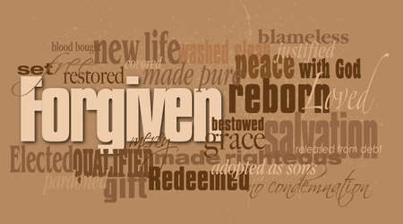 condemnation: Graphic montage illustration of the Christian concept of forgiveness composed of associated words and concepts. An inspirational contemporary design available as vector.