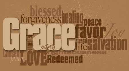 Ilustración gráfica montaje tipográfica de la concepción cristiana de la Gracia compuesta de palabras asociadas y palabras que definen. Un diseño contemporáneo de inspiración. Foto de archivo