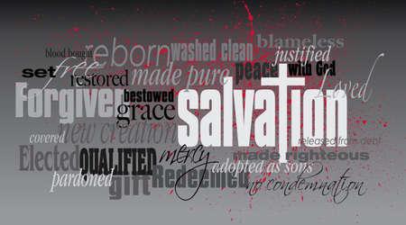 Grafica tipografica illustrazione montaggio della concezione cristiana della Salvezza, composto delle parole associate e delle parole che definiscono. Un design contemporaneo edificante ispirazione.