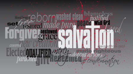 Graphic typographic montage illustration of the Christian concept of Salvation composed of associated words and defining words. An inspirational, uplifting contemporary design.