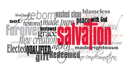 Graphic typographic montage illustration of the Christian concept of Salvation composed of associated words and defining words. A smatter of red blood conveys the cost of the Biblical forgiveness of sins. An inspirational, uplifting contemporary design.