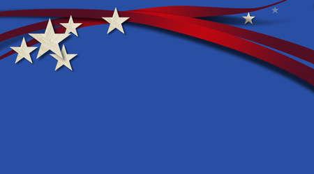 アメリカの国旗のコンポーネントと青色の背景色の図。