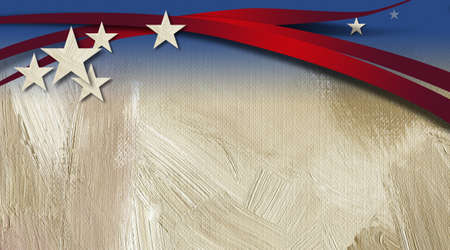 Graphic illustration of American Flag components across a neutral grunge, brush stroke textured background.
