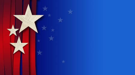 Graphic illustration of American Flag components and colors across a blue gradient background and faded, distant small stars.