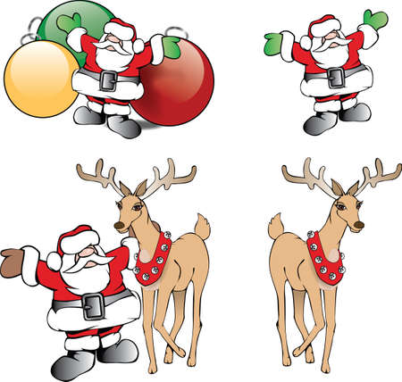 Christmas illustration of happy Santa Claus with tree ornaments and reindeer