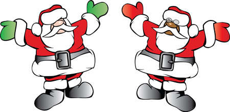 kris: Simple sketch illustration of two ethnic version of happy Santa Claus. Illustration