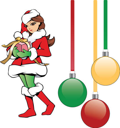 Illustration of cute Santa helper girl bearing Christmas gift with shiny ribbon