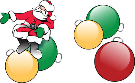 Illustration of Santa Claus with shiny Christmas tree ornaments
