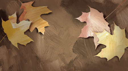 fallen: Graphic abstract illustration of fallen autumn leaves against hand painted, brushstroke textured background. Stock Photo
