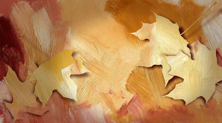 fallen: Graphic abstract illustration of colorful fallen autumn leaves against hand painted, brushstroke textured background. Composed in bright earthtoned hues.