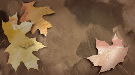fallen: Graphic abstract illustration of fallen autumn leaves against hand painted, earth tone, brushstroke, textured background. Stock Photo