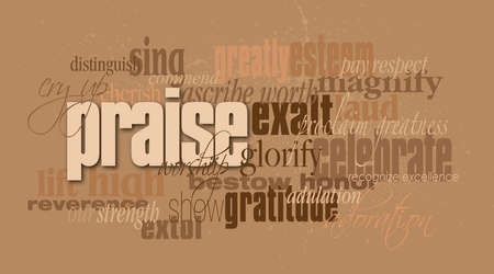 Graphic typographic montage illustration of the Christian concept of Praise composed of associated and defining words against a subtle smatter of blood. An inspirational, uplifting contemporary design.