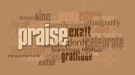 Ilustración gráfica montaje tipográfica de la concepción cristiana de alabanza compuesta de palabras asociadas y definen contra un smatter sutil de sangre. Un diseño contemporáneo inspirado, el elevar.