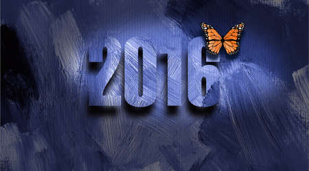 transfigure: Graphic illustration of New Year with numerals and monarch butterfly against hand painted blue textured background